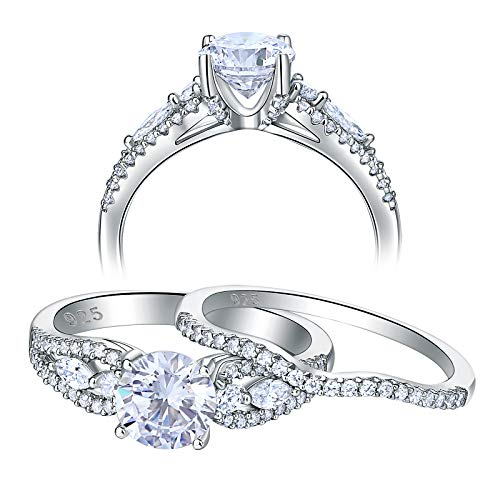 Newshe Five Stone Engagement Rings for Women Wedding Ring Set 925 Sterling Silver Cz 2.2Ct Size 6