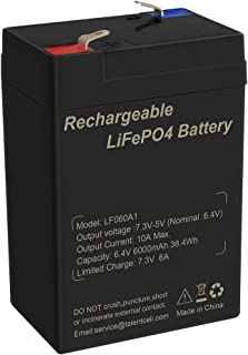 TalentCell 2000 Cycles 6V 6Ah Rechargeable Lithium Iron Phosphate (LiFePO4) Battery Pack