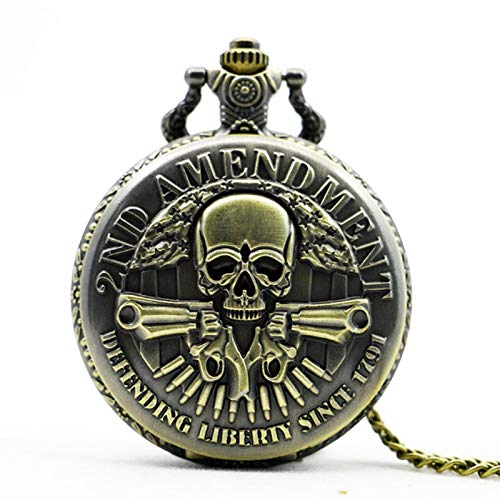 ZMKW Military Gun Skull Quartz Pocket Watch Collar Hombres Mujeres Reloj Regalos, predeterminado