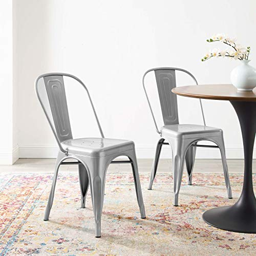 Modway Promenade Industrial Modern Steel Metal Bistro Dining Chairs in Silver-Set of 2