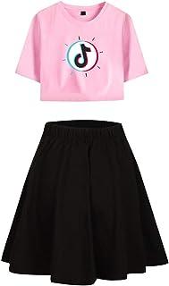 Landove TIK Tok Tracksuit Two Piece Women Crop Top and Skirt Set C02283TXDQ