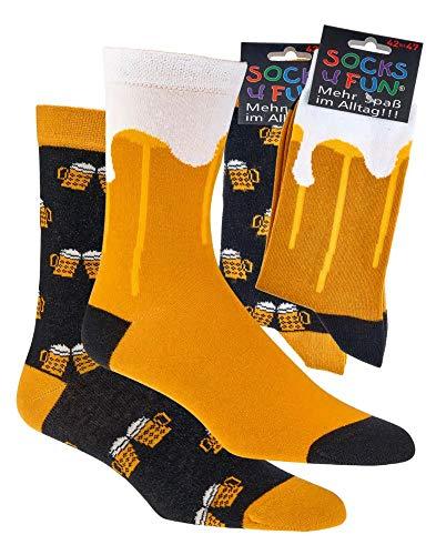 FussFreunde Spaß mit Socken, 2 Paar Socken mit verschiedenen Motiven mit ANTI-LOCH-GARANTIE (Bier, numeric_42)
