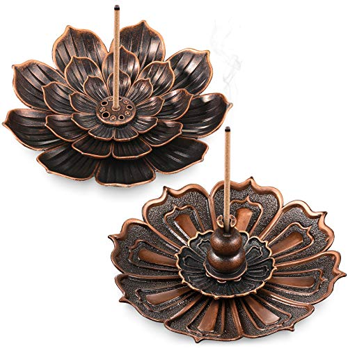 Patelai Messing Lotus Weihrauchbrenner Messing Räucherstäbchen Halter Messing Eschenfänger Lotus Räuchergefäß für Zuhause Duft Dekoration Aromatherapie Ornament, 2 Stile (2)