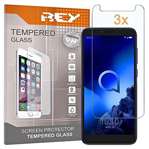 REY Pack 3X Panzerglas Schutzfolie für ALCATEL 1S, Bildschirmschutzfolie 9H+ Festigkeit, Anti-Kratzen, Anti-Öl, Anti-Bläschen
