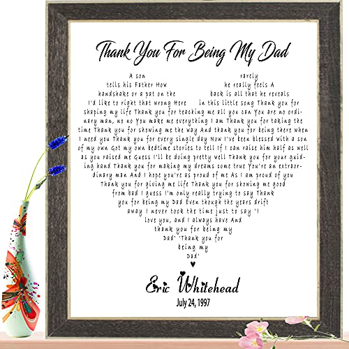Customized Wall Art Song Lyrics - Personalized Wedding Dance for Couples Anniversary, Engagement, Wedding, Birthday Gift ( Multiple Sizes - Framed / Unframed )