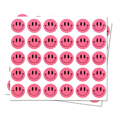 Happy Face Smiley Face Labels Round Self Adhesive Circle Stickers ( Pink / 0.5 inch / 300 Labels per Pack )
