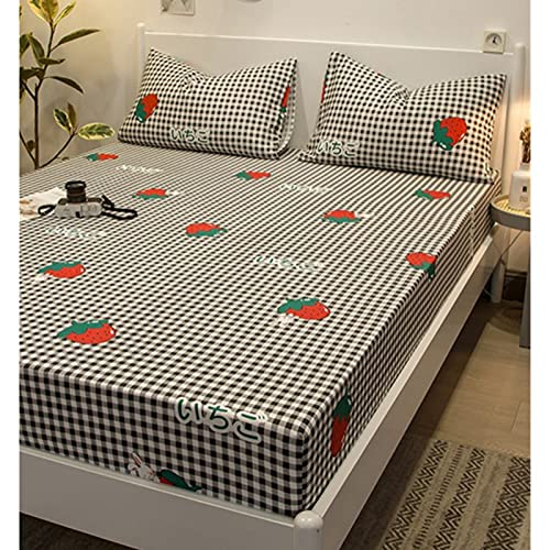 HAIBA Sábanas bajeras individuales de algodón, sábana bajera de satén suave de lujo, sábana bajera de 180 x 200 + 30 cm