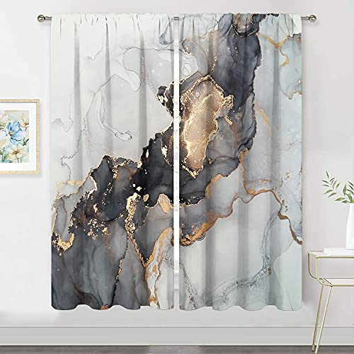 MESHELLY Marble Curtains 42Wx 63H Rod Pocket Abstract Sliver Black Gold Grey Bedroom Decor Luxury Drapes Flow Liquid Modern Home Ink Vintage Stone Printed Living Room Window Decor Fabric 2 Panels