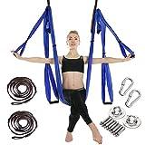 MANLI Hamaca de Yoga Conjunto de Seda aérea Conjunto de Yoga Safe Deluxe Kit de Antena Antigravedad Yoga Swing/Sling/Inversión (Blue)