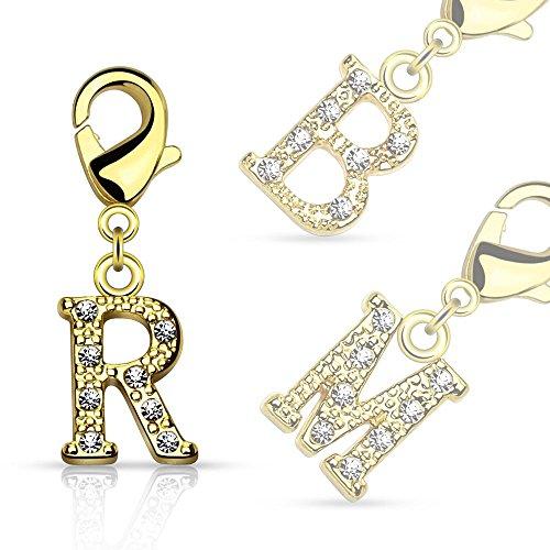 Bungsa Unisex Initial Charm, Letter Charm, 14 carat Gold & Crystal Pendant for Necklace / Bracelet / Earrings (Charm Letters: A B C D E F G H I J K L M N O P Q R S T U V W X Y Z), Brass Jewellery l