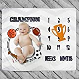Baby Monthly Milestone Blanket Photo Prop for Newborn Growth Photography Football Baseball Basketball Soccer Champion Sports Month Blanket