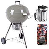 mastercook - barbecue a carbone con ruote 57cm mastercook. omaggio accenditore mastercook e bricchette 5 kg. bbq compatto, barbecue con ruote, bbq a carbone, barbecue portatile