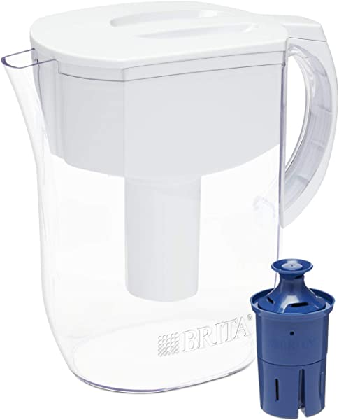 Brita Pitchers 060258355093 Brita Water Pitcher With 1 Longlast Filter BPA Free Everyday Large 10 Cup White