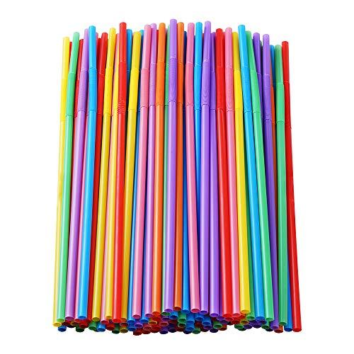 100 Pcs Colorful Plastic Long Flexible Straws.(0.23''diameter and 10.2'long)