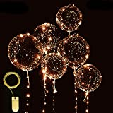 Warm White LED Light Up BoBo Balloons 6 Packs, 10 PCS Bobo Balloons,6 PCS String Lights 13FT(4m) CR2032 Batteries included,for Christma/Birthday/Wedding Party Decoration