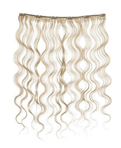 American Dream - A4/QFC12/18/25 - 100 % Cheveux Naturels - Douce Ondultation - Pièce Unique Extensions à Clipper - Couleur 25 - Blond Léger - 46 cm