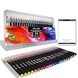 Best Coloring Brush Pen Sets - 24 WaterColor Brush Pens set includes water brush Review