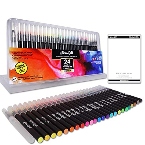 24 WaterColor Brush Pens set includes water brush pen and Blending Pallette - Real Brush Pens with Brush tip for Coloring-Calligraphy-Drawing - Watercolor pens for Artists, Kids and Adults