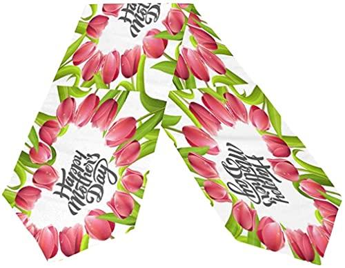 Doble Cara de Feliz Día de Las Madres Tulip Flores de Color Rosa Corazón tapete de Mesa 13 x 70 Centímetros de Largo,Mantel Corredor para la Fiesta de la Boda de Vacaciones de Cocina Comedor de la C