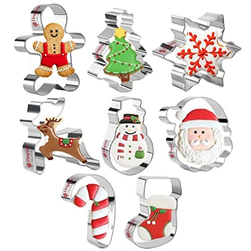 Orapink Cortador de galletas de Navidad - 8 Piezas cortadores de galletas de acero inoxidable Hombre de jengibre, árbol de Navidad, copo de nieve, muñeco de nieve, reno y más para hornear