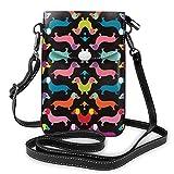 Lsjuee Bolso bandolera de moda para teléfono móvil Mandala de colores con efecto teñido anudado Bolso de hombro de cuero PU para mujer con correa ajustable Perros de perro salchicha de colores