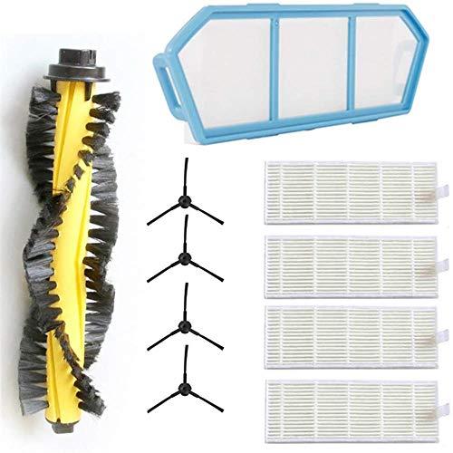 10 Stück Zubehör für Ecovacs Deebot M82 mit gelber Hauptbürste, 4 Seitenbürste, 4 Filter, 1 Filter, 1 Hauptbürste, Ersatzteilset/Ersatzteile für ECOVACS M82