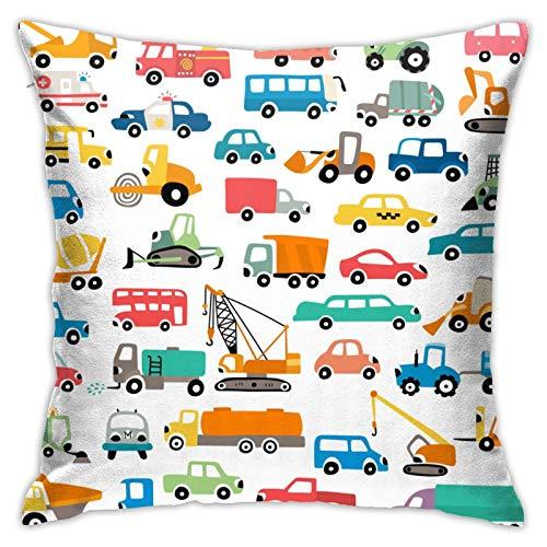 fuyon Cute Friendly Cars Autobuses Camiones Funda de Almohada Funda de Almohada Cuadrada Decorativa para el hogar Funda de cojín