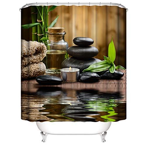 Xmiral Duschvorhänge Wasserdicht Duschvorhang Polyester Badezimmer Gardinemit 12 Haken 180x180cm(G)