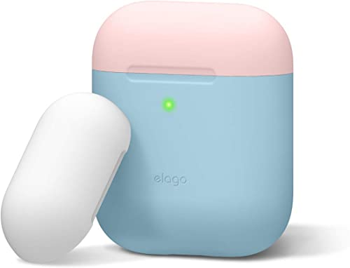 elago AirPods Case Cover Compatible with AirPods 1&2-2 Caps & 1 Body, Front LED Visible, Premium Silicone, No Hinge (...