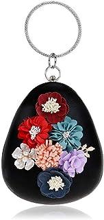 Fine Bag/Women Flower Clutches Evening Bags Handbags Wedding Clutch Purse Banquet Bag (Color : Black, Size : One Size)