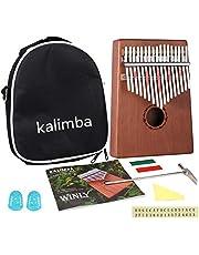 Kalimba 17 chiavi – Kalimba pianoforte per pollice, con istruzioni di apprendimento e accordatore portatile Mbira Sanza in legno africano per bambini adulti principianti (7 chiavi)