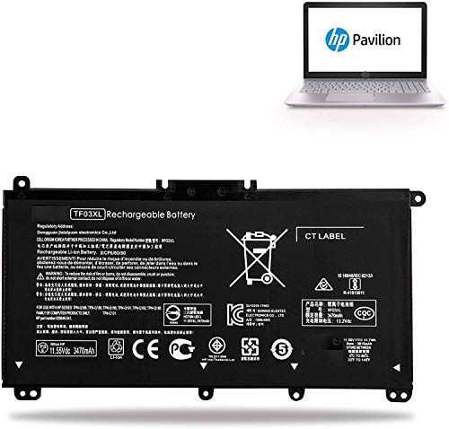 K KYUER TF03XL Laptop Battery for HP Pavilion 14-BK 14-BF 14-BF050WM BF040WM BF102TX BF155TX BF195TX BK091ST BK061ST 15-CC 15-CD 15-CK 17-AR 15-CC610MS CC123CL CC563ST CD040WM CD042NR CD075NR CK075NR