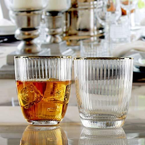 Circleware 76848 - Juego de 4 vasos de whisky con diseño de tiara óptica para agua, zumo, té helado, cerveza, bar de vino, licor, regalo de bebidas, 16...