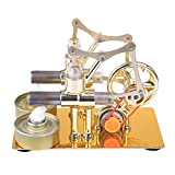 NURICH Stirling Metal Hot Double Cylinder Bulb External Combustion Heat Steam Power Engine Model Physics Science Experiment Toy