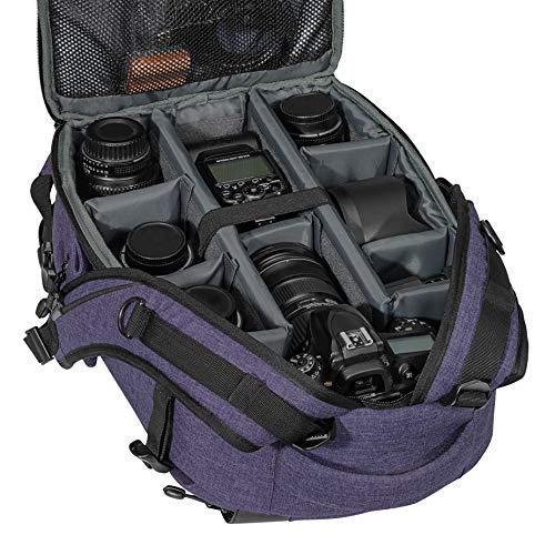 PEDEA DSLR-Kamerarucksack Fashion Fotorucksack für Spiegelreflexkameras mit wasserdichtem Regenschutz und Variabler Inneneinteilung (Rucksack, lila)