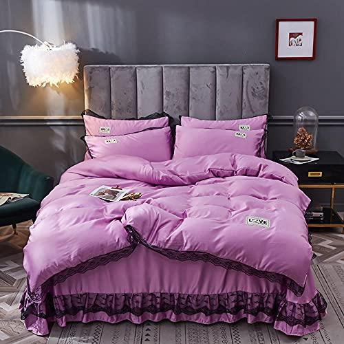 Juegos De SáBanas De 90 De Oferta,Ropa de cama de piel de seda, Seda de hielo Falda de camas frías Down Set de edredón Conjunto de una sola cama doble de una sola funda de almohada, usando un hotel f