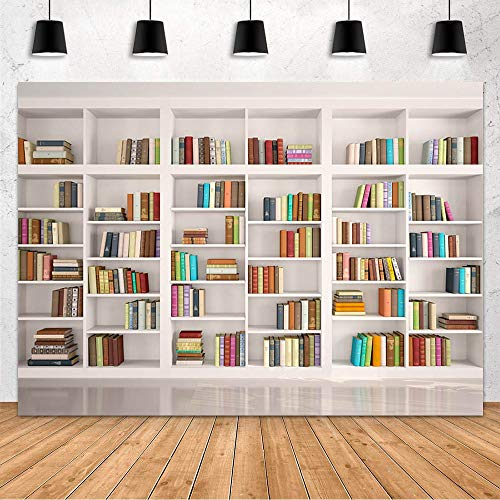 Mehofond Bookshelf Photo Background Bookcase Photography Backdrop Library Decoration Backdrop Videos Photo Shoot Studio Props Banner Vinyl 7x5ft