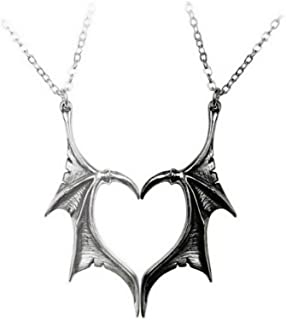 Matching Love Heart Necklace Compatible Dragon Wing Pendant Cool Gothic Choker Friendship Couples Gift for Women Men(2Pcs)