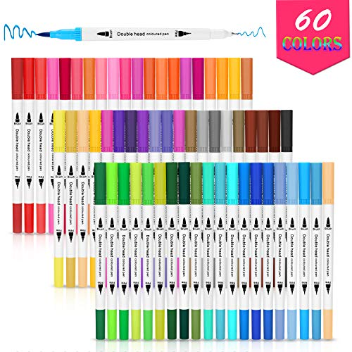 Dual Tip Brush Pens, AGPTEK 60 Colors Dual Tip Brush Marker Pens with 0.4 Fine Tip, Non-Toxic, Odorless & Blendable, Perfect for Illustration,...