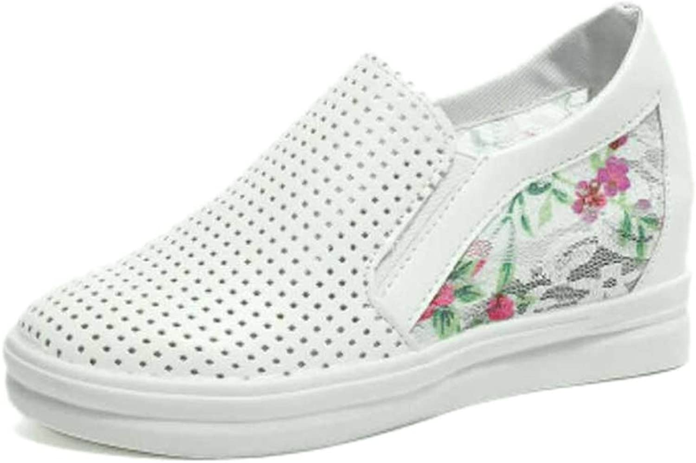 Btrada Women Fashion Round Toe Pumps Sneakers Casual Slip-on Height Increasing Wedge Heels Platform shoes