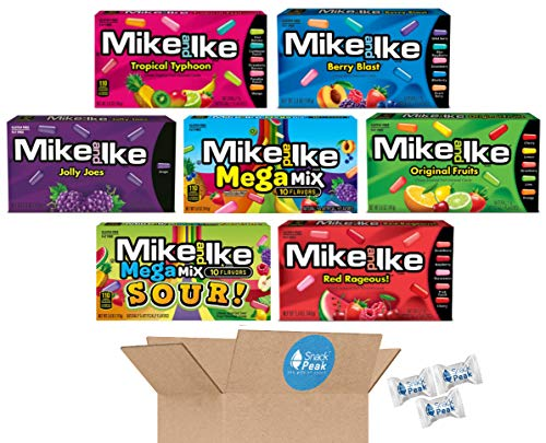 Mike and Ike Snack Peak Variety Gift Box – Tropical Typhoon, Berry Blast, Mega Mix, Jolly Joes, Original, Red Rageous and Mega Mix Sour