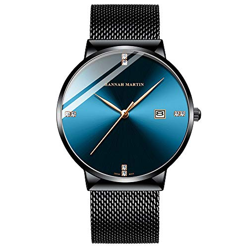 Shiwen Reloj de pulsera con diamante azul calendario para hombre, resistente al agua, con reloj de cuarzo simple, azul