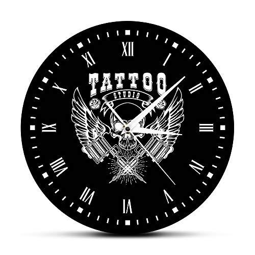 RRBOI Reloj de Pared Old School Art Tattoo Studio Reloj de Pared Moderno Cráneo y Reloj Tribal Reloj Salon Shop Tattoo Studio Decoración Tattooist Gift