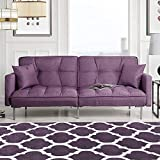 Divano Roma Furniture Modern Folding, Small, Light Purple