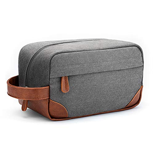 Vorspack Toiletry Bag Hanging Dopp Kit for Men Water Resistant Canvas Shaving Bag with Large Capacity for Travel - Light Grey
