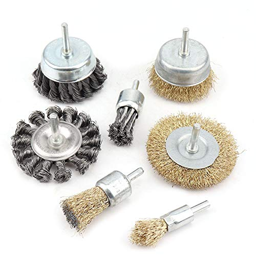 7 Pack Knotted and Plated Crimped Wire Wheels Brush Set,3 inch Cup Wire Wheels Brush and 1 inch End Brush Set for Rust Removal, Corrosion and Paint