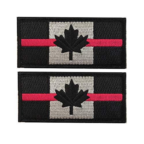 X. SEM Ligne Rouge Drapeau du Canada Patch–Lot de 2tactique patches Broderie Moral Emblème