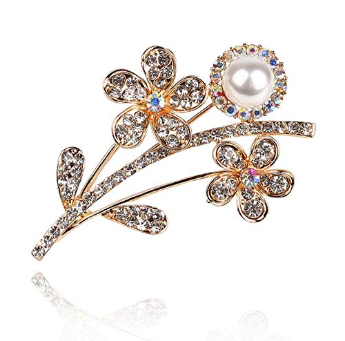 N/W with rhinestone & imitation pearl Brooches double flower shape Party Brooch Pins Gifts For Women And Girls(gold color)
