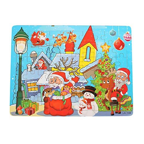 Puzzle de Madera Puzzle de Navidad Juguetes con Modelos de Muñeco de Nieve de Papá Noel Puzzle Cuadrado para niños Puzzle Educación Segura Aprendizaje de Juguetes de Inteligencia