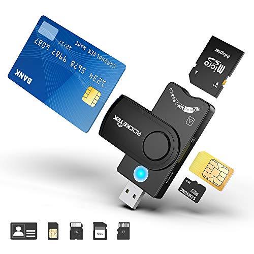 Rocketek Lettore Multi-Scheda, Lettore di schede USB Militare CAC Dod, Lettore di schede SDHC SDXC SD e Micro SD per SIM e MMC RS e 4.0 Compatibile con Windows, Linux Unix, MacOS X